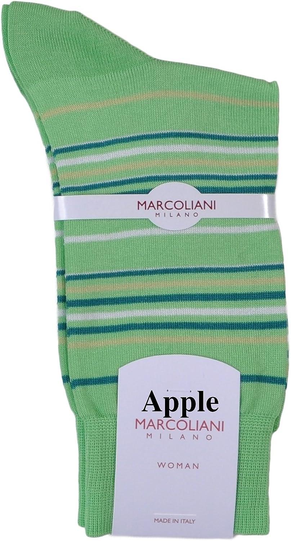 One Pair Marcoliani Women's Portofino Stripe Italian Ankle/Trouser Cotton Socks