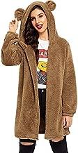 Womens Hoodies Long Sleeve Bear Ear Hooded Fleece Sweatshirt Cardigan Coat