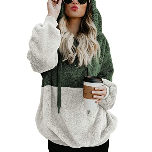 Acelitt Women s Fuzzy Casual Loose Oversized Sweatshirt Hooded with Pockets  (11 Color 76f5acb4b