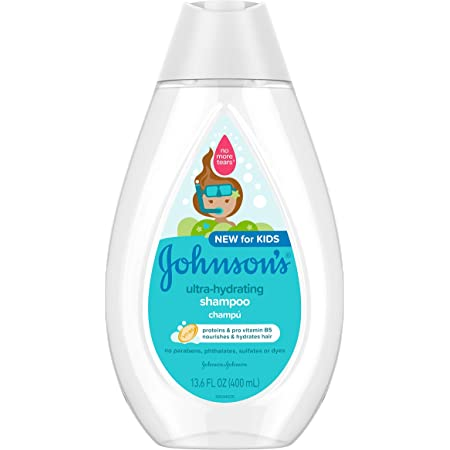 Johnson's Ultra-Hydrating Tear-Free Kids' Shampoo with Pro- Vitamin B5 & Proteins, Paraben-, Sulfate- & Dye-Free Formula, Hypoallergenic & Gentle for Toddler's Hair, 13.6 fl. oz