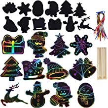 Max Fun Rainbow Color Scratch Christmas Ornaments (48 Counts) - Magic Scratch Off Cards Paper Hanging Art Craft Supplies E...