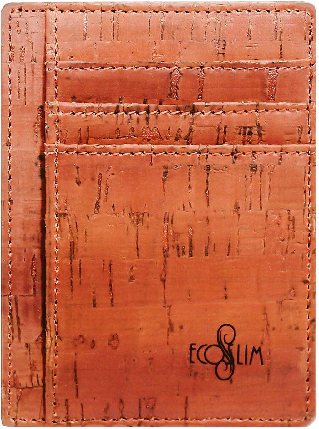 Eco Slim Wallet Minimalist Front Pocket Wallet RFID Credit Card Holder Cork