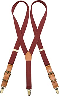 Sponsored Ad - JTCMOJS Adults Leather Suspenders Y-Back Tuxedo Braces With Bronze Non-slip Clip