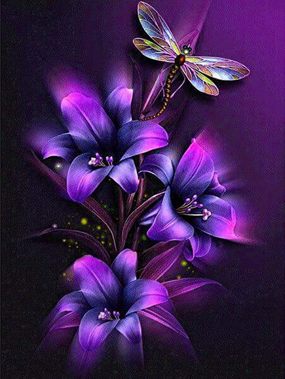 21secret 5D Diamond DIY Painting Full Drill Handmade Purple Dreamy Flowers and Dragonfly Cross Stitch Home Decor Embroidery Kit