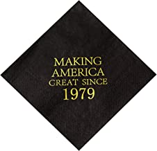Crisky 40th Birthday Napkins Black and Gold Dessert Beverage Cocktail Luncheon Napkins 40th Birthday Decoration Party Supplies, Making America Great Since 1979, 50 Pack 4.9