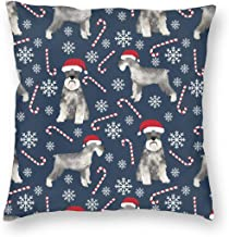 Pillowcases Schnauzer Christmas Candy Canenowflakes Christmas Christmas Dogs Cutechnauzers for Sofa Bedroom livingroomTwo Sides Printing 18x18 inch
