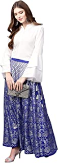 Ahalyaa Indowestern Blue, Silver & White Shirt & Skirt Set