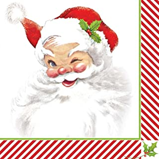 Paperproducts Design Beverage/Cocktail Napkins (Pack of 20), Winking Santa, Multicolor