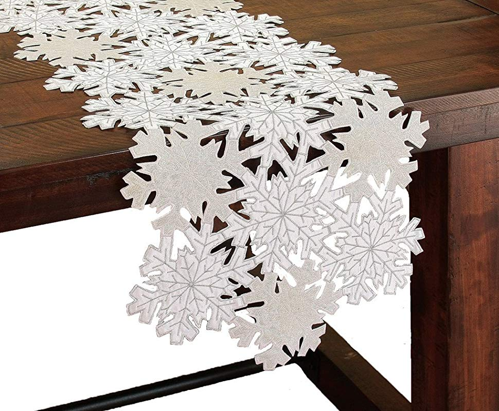 Xia Home Fashions Shimmer Snowflake Embroidered Cutwork Christmas Table Runner 16 By 34 Inch