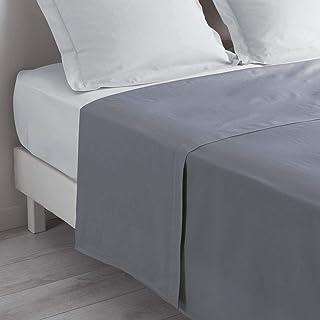 VENT DU SUD Drap Plat Uni en Coton Percale Prune 300x240 cm