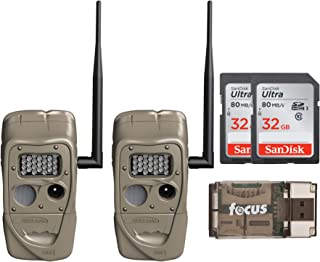 Cuddeback J-1521 CuddeLink Long Range IR Trail Camera (2-Pack) with 32GB SD Cards and Card Reader Bundle (3 Items)
