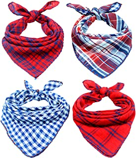 Invlab Dog Bandanas - 4 Pack Washable Triangle Bibs Scarfs, Reversible Plaid Printing Kerchief for Dogs and Cats