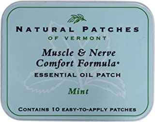 Natural Patches of Vermont Muscle & Nerve Comfort Essential Oil Body Patches, Mint, 10-Count Tin