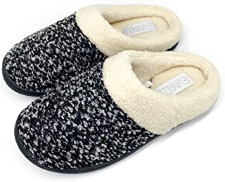 Women's Cosy Memory Foam Slipper - Knitted Fluffy Soft Plush Fleece Lined Arch Support Indoor/Outdoor Home Shoes with Anti-Skid Rubber Sole, Footspa by Fresh-Tech…