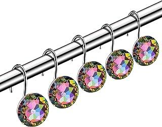 HBlife Shower Curtain Hooks, 12 PCS Anti Rust Decorative Crystal Rhinestones Hooks for Bathroom, Colorful