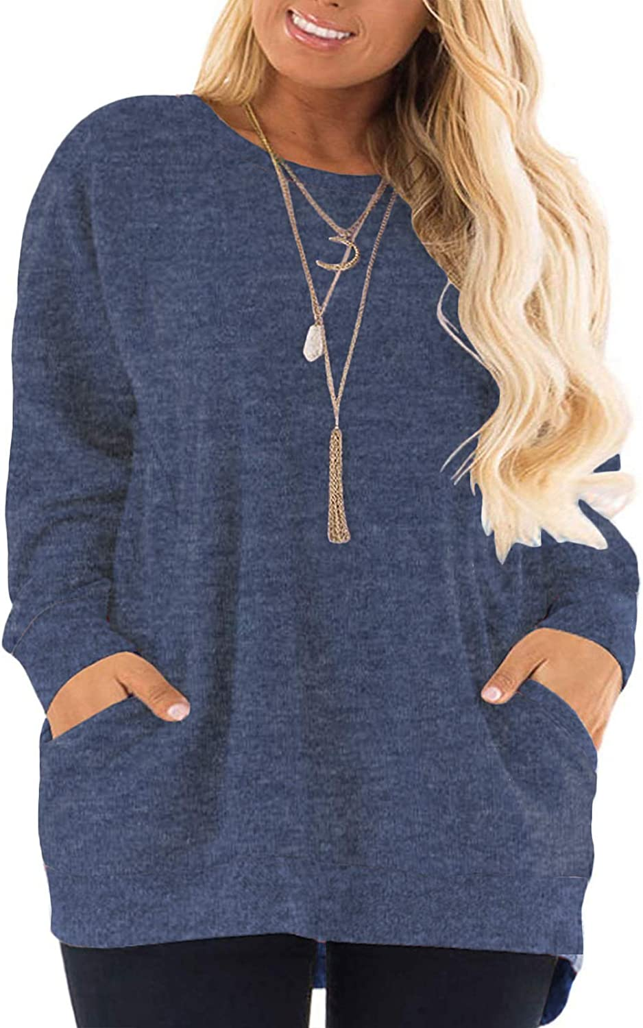 AURISSY Plus-Size Sweatshirts for Women Color Block Tops Shirts with Pocket