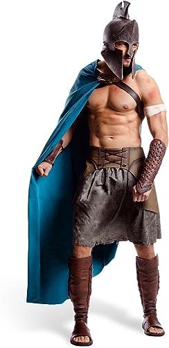 300 Thémistocle Deluxe Film Costume Grec Costume pour Hommes 6 Pièces Casque Cape Ceinture Jupe Guêtres pour Bras et Jambes - XL
