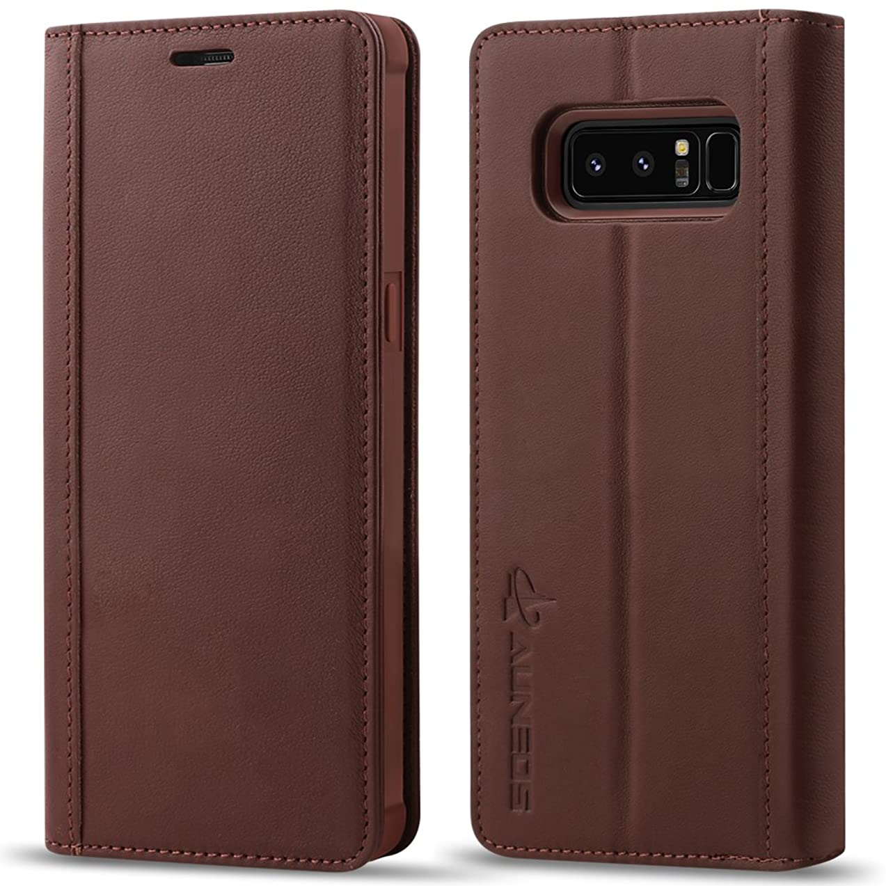Case for Galaxy Note 8, AUNEOS Note 8 Wallet Case [Genuine Leather] [Shock Absorption ] Folio Flip Case Cover for Samsung Galaxy Note 8 (Brown)
