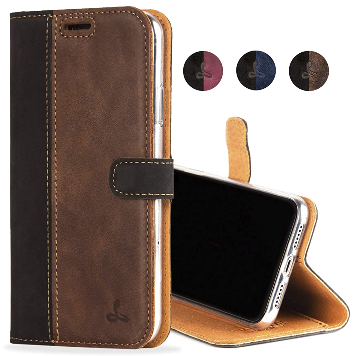 iPhone XR Case, Luxury Genuine Leather Wallet with Viewing Stand and Card Slots, Flip Cover Gift Boxed and Handmade in Europe for Apple iPhone XR (Black and Brown)