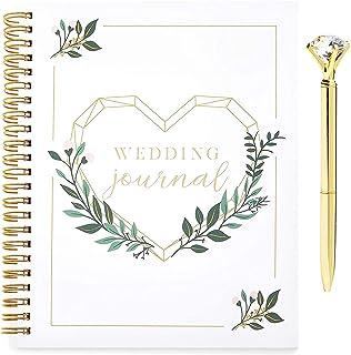 مجلة تخطيط الزفاف الحلزونية مع قلم ألماس ذهبي للعروس (مجموعة من قطعتين)