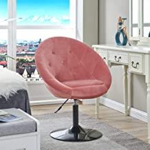 Vanity Stool Chairs,Velvet Makeup Dressing Chair with Modern Stool Adjustable Round Pink