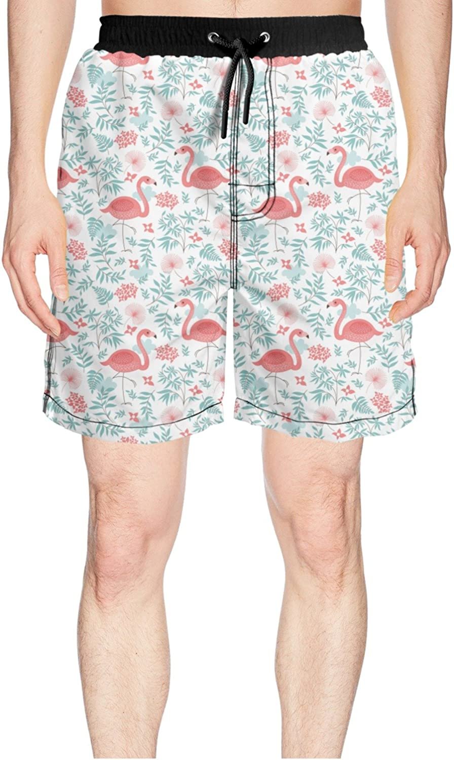 Juliuse Marthar Men's Pink Flamingo colorful Tropical Jungle Swim Trunks Quick Dry Shorts Board Shorts