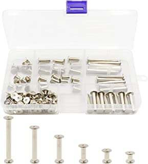 LBY 110pcs Phillips Chicago Screw Binding Screw Post M5 x 6/10/15/25/35/45mm Book Screws and Leather Saddles Purses Belt Repair Bookbinding Rivet Nickel-Plated Silver 55-Sets
