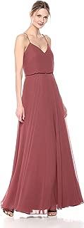 Jenny Yoo Women's Inesse Thin Strap V Neck Long Chiffon Gown, Cinnamon Rose, 12