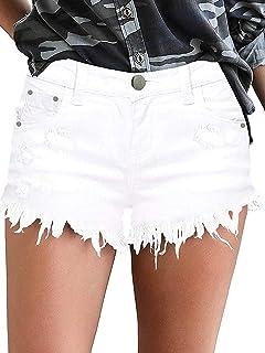 Govc Womens Jean Shorts Mid-Rise Frayed Raw Hemline Ripped Denim Short Jeans