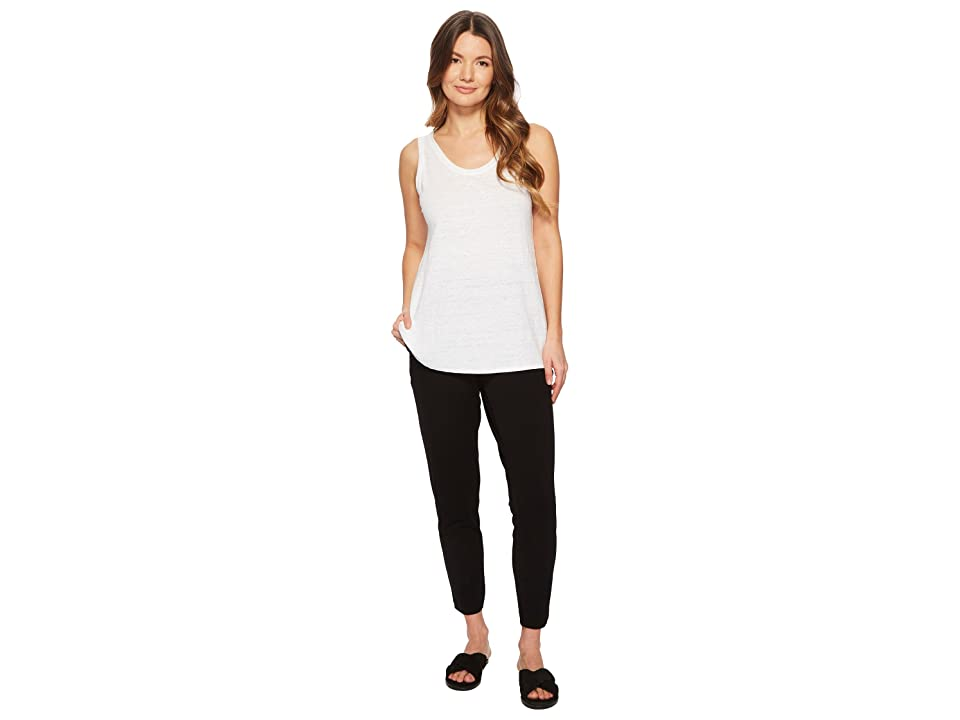 Eileen Fisher U-Neck Long Tank Top (White Organic Linen Jersey) Women