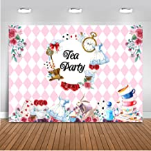 Mehofoto Tea Party Backdrop Floral Birthday Party Background for Bridal Shower 7x5ft Vinyl Teapot Tea Party Baby Shower Banner Decoration Backdrops