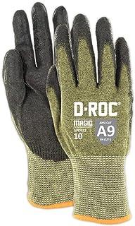 Magid Glove & Safety Magid D-ROC Lightweight Aramid Blend Polyurethane Palm Coated Work Gloves – Cut Level A9 (1 Pair), Green, 8/M