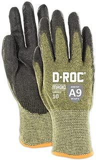 Magid D-ROC Lightweight Aramid Blend Polyurethane Palm Coated Work Gloves – Cut Level A9 (1 Pair)