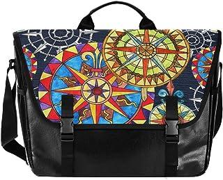 Colorido Folk Art Flower Canvas Bolso de Cartero Unisex 15.6 pulgadas Laptop Retro Satchel, Business Cuaderno, Bolso de ho...