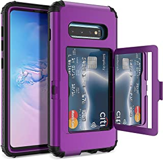 Galaxy S10 Wallet Case - WeLoveCase Defender Wallet Credit Card Holder Cover with Hidden Mirror Three Layer Shockproof Heavy Duty Protection All-Round Protective Case for Samsung Galaxy S10 Purple