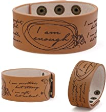 Vera Viva Adjustable Cuff Bracelet with I am Enough Inspirational Quote | Made of Genuine Leather | Open Design Fits Most Wrist Sizes | Cuff Size 6.5 Inches