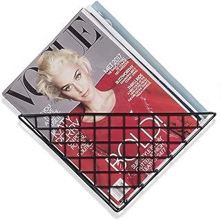 Wall35 Triangle Wall Mounted Geometric Shelf - Metal Wire Basket - Farmhouse Design Magazine Racks Black