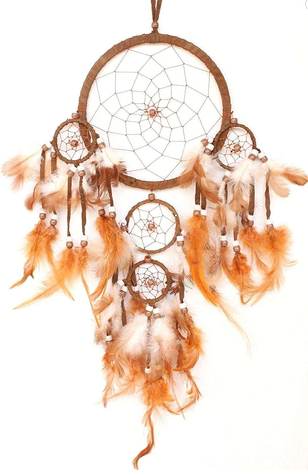 Brown Dream Catcher Handmade Max 86% OFF Ranking TOP18 w Home Car Leather Feather Wall