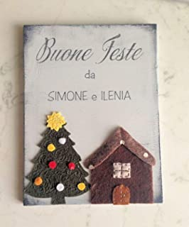 """Targa"""" Buone Feste"""" personalizzata con nome - Idea regalo Natale"""