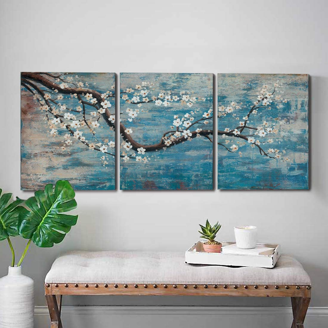 """Amazon.com: amatop 3 Piece Wall Art Hand-Painted Framed Flower Oil Painting On Canvas Gallery Wrapped Modern Floral Artwork for Living Room Bedroom Dcor Teal Blue Lake Ready to Hang 12""""x16""""x3 Panel: Paintings"""