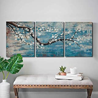 Ejart 3 Piece Wall Art Hand-Painted Framed Flower Oil Painting On Canvas Gallery Wrapped Modern Floral Artwork for Living Room Bedroom Décor Teal Blue Lake Ready to Hang 36