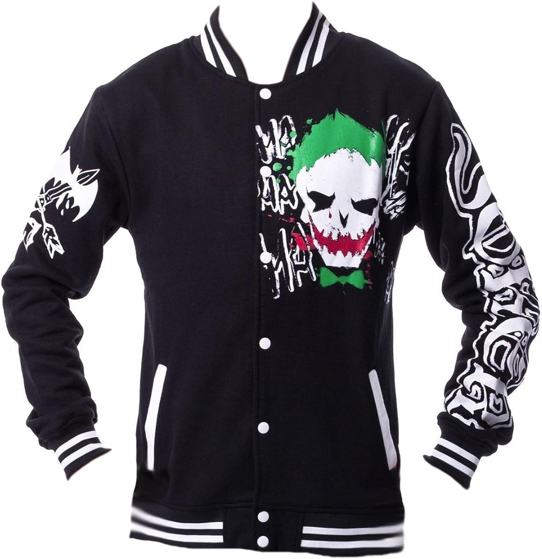 DangerousFX Dc Comics Unisex 1018 Joker Black Green Red Varsity Jacket Batman Suicide Squad
