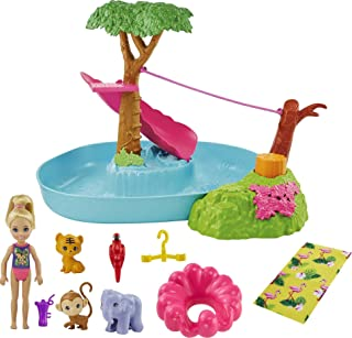 Barbie and Chelsea The Lost Birthday Splashtastic Pool Surprise Playset with Chelsea Doll (6-in), 3 Baby Animals, Slide, ...