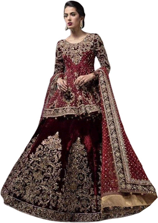 SHRI BALAJI SILK & COTTON SAREE EMPORIUM Indian Pakistani Muslim Women Wedding Wear Suit with Lehenga Bottom Hijab Dress 5666 Maroon