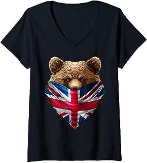Womens England UK Flag California Bear Wearing British Flag Bandana V-Neck T-Shirt