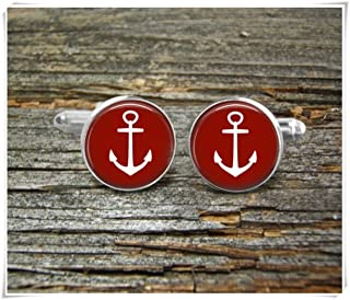 Fashion cool jewelry Anchor Cufflinks, White Anchor Cufflinks,Nautical Cufflinks,Man Gift,Dome Glass Ornaments, Pure Hand-Made