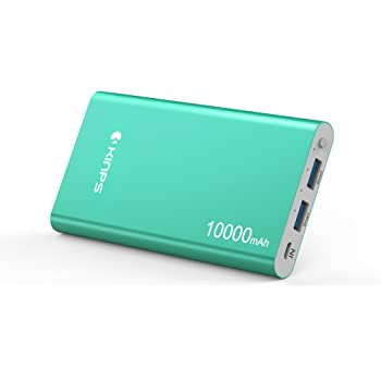Kinps Portable Charger 10000mAh Dual Ports Aluminum Case Li-Polymer External Backup Battery Power Bank for Phones Tablets and More Devices