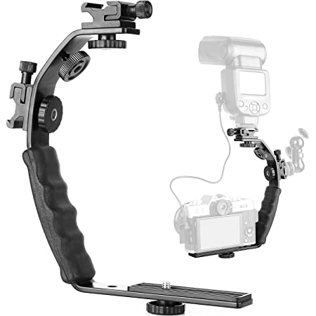 ChromLives Camera L Bracket Mount Video Grip L-Bracket with Dual Flash Cold Shoe Mount 1/4'' Tripod Screw, Heavy Duty Padded Hand Grip for DSLR Camera Camcorder (Updated)