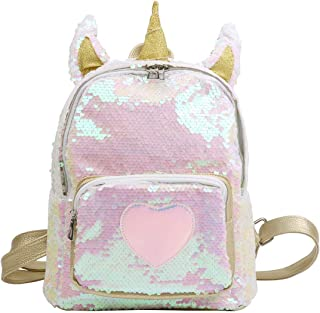 Kid Backpack Cute Mini Horn Ears Backpack Kids Girls Dazzling Glittery Sequins Shoulder Bag Outdoor Travel Casual Daypack Schoolbag Satchel (Color : Gold, Size : One Size)