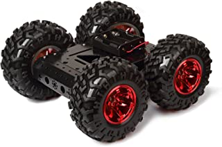 Red rubber tire 4WD Smart Car Chassis Kit – iron Chassis + 4pcs DC 12V Motors + Non inflatable rubber tire for Arduino Raspberry Pi DIY Obstacle Avoidance Smart Car Large Size 10.6x10.6x4.7inch